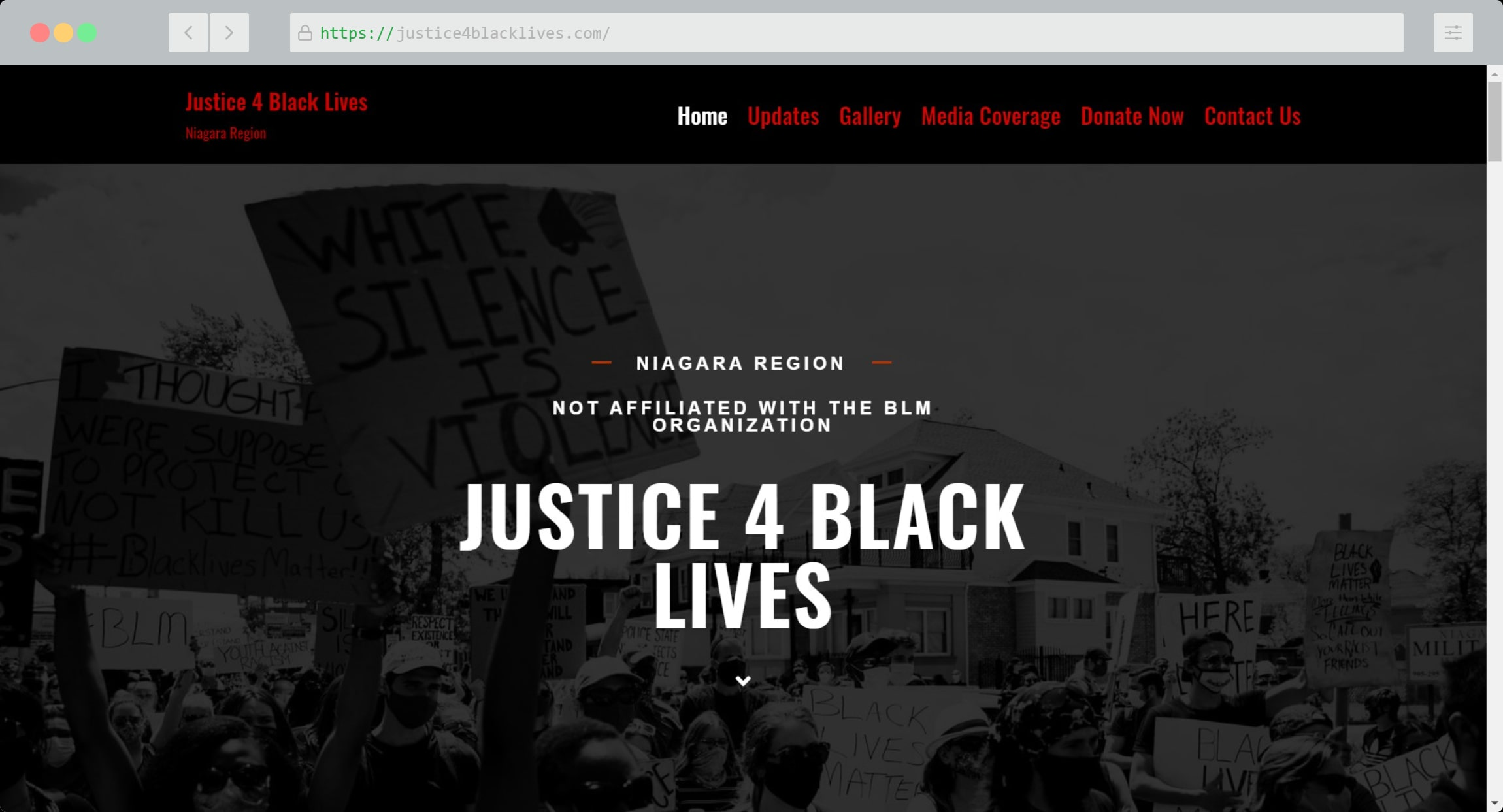 Justice 4 Black Lives Website