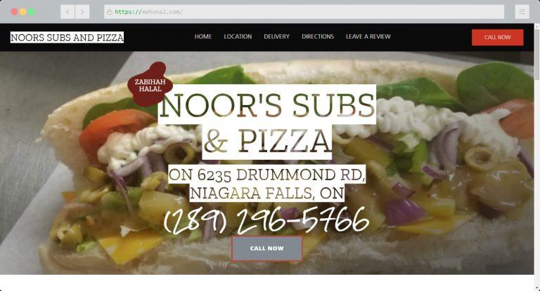 Website Portfolio Noors Subs and Pizza